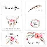 Boho Spirit Thank You Card Assortment Pack - Set of 36 cards blank inside - 4 designs blank inside - with white envelopes (54101)