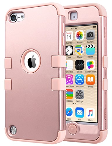 iPod Touch 6 Case,iPod Touch 5 Case,ULAK 3in1 Anti Slip iPod Touch Case Hybrid with Soft Flexible Inner Silicone Skin Protective Case Cover for Apple iPod Touch 5 6th Generation (Rose gold) (Ipod 5 Cases Protective For Girls compare prices)