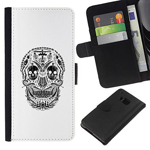 ZCell / HTC One M7 / White Black Skull Cross Christian Death / Wallet Custodia Portafoglio Snello Caso Case Cover Armor / Bianco nero Cranio Croc