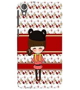 PrintVisa Cute Cartoon Art Print & Pattern Girl 3D Hard Polycarbonate Designer Back Case Cover for HTC Desire 820