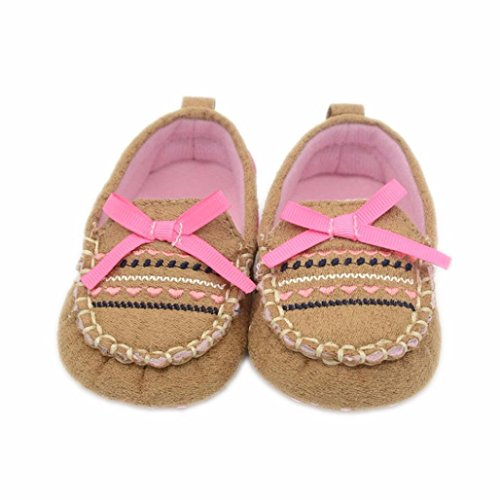 Voberry® Toddler Girl's Slip on Brown Cute Loafer Baby Flats Shoe (0~6 Month, Khaki)