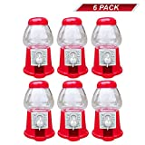 """Premium Pack Of 6 Mini 5"""" Plastic Gumball Machines–Small Set Of Red Bubble Gum Dispenser For Boys & Girls –Novelty Fun Birthday Party Favor Idea"""