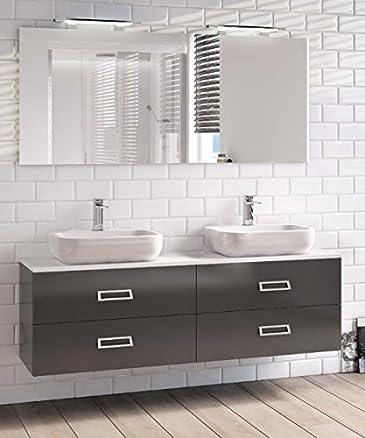 Mobile Arredo Bagno cm 160x40 con doppio lavabo con 4 cassetti sospesp in 30 colori Mobili