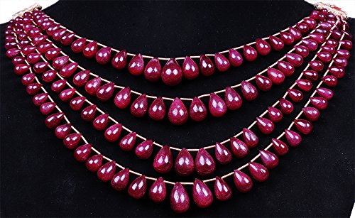 4 Rows of Ruby Gemstone Drop Shape Bead Strand