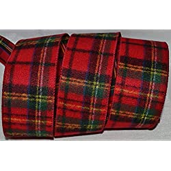 "Wired Ribbon~2.5""~Christmas Blanket Red Tartan~Plaid~Green~Bow~Wreath~Holiday"