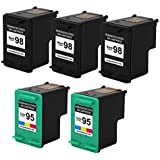 Valuetoner Remanufactured Ink Cartridge Replacement For Hewlett Packard HP 98 & HP 95 C9364WN C8766WN (3 Black, 2 Tri-Color) 5 Pack Compatible With Deskjet 5940 5940xi Officejet 100 150 6300 6301 6305 6310 6310v 6310xi 6315 6318 H470 H470b H470wbt Photosmart 2570 2575 2575v 2575xi 8030 8038 8049 8050 8053 C4100 C4110 C4140 C4150 C4180 C4183 C4188 D5060 D5065 D5069 D5100 D5145 D5155 D5160 Printer