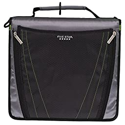 Five Star Zipper Binder with Expanding Pocket, 2 Inch, 3 Round Ring Binder, Black (73305)