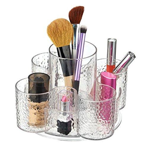 mDesign Organizzatore Cosmetici Rotante per Armadietto per Tenere Trucco, Spazzole Capelli, Prodotti di Bellezza - Trasparente