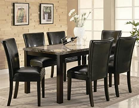 7PC Rich faux marble table top with Rectangular Leg Dining Table and Chairs Set