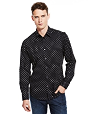 Autograph Cotton Rich Pin Dot Print Shirt