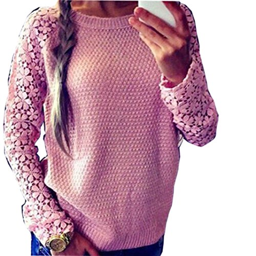 Knitted Sweater,Leegor Lady Elegant Lace Sleeve Stitching Tops Loose Outwear (XXL)