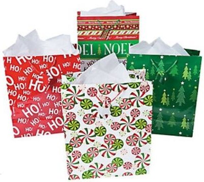 Fun Express Bright Christmas Gift Bag Assortment - 14.5 Inches - 12 Piece Pack