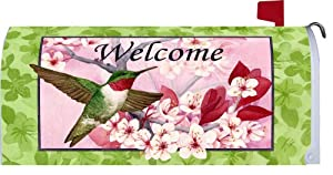 """"""" Floral Hummingbird """" - Decorative Mailbox Makeover - Rural Size Mailbox Magnetic Cover"""