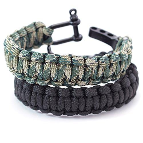 Stargoods Paracord Survival Bracelet - Set of 2 - Black & Camo