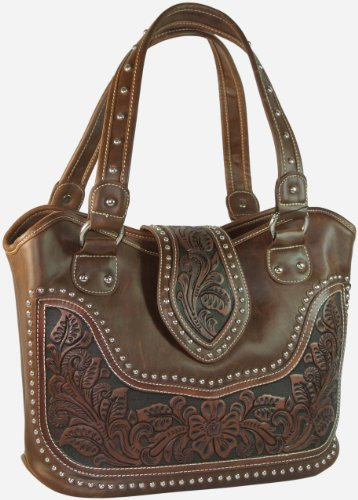 Montana West Concealed Carry Purse Tooled Leather Handbag Western Purse Coffee front-616291