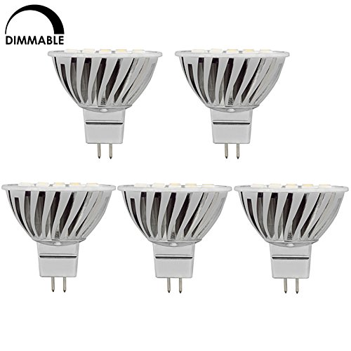 HERO-LED Dimmable MR16 GU5.3 Low Voltage 12V Bi-Pin Base LED Halogen Replacement Bulb, For Use in Spot/Flood Reflector Lamps, Spotlights, Pathway Lights, Landscape Lighting, Pendant Lights, Recessed Lighting, Accent Lights, Novelty Lamps, Table/Desk Lamps, Cabinet Lights, Retail Lighting, Display and Track Lighting, Projector/Stage/Studio Light Bulbs, 120 Degree Beam Angle,4.8W, 50W Equivalent, 5-Pack, Warm White 3000K / Soft White