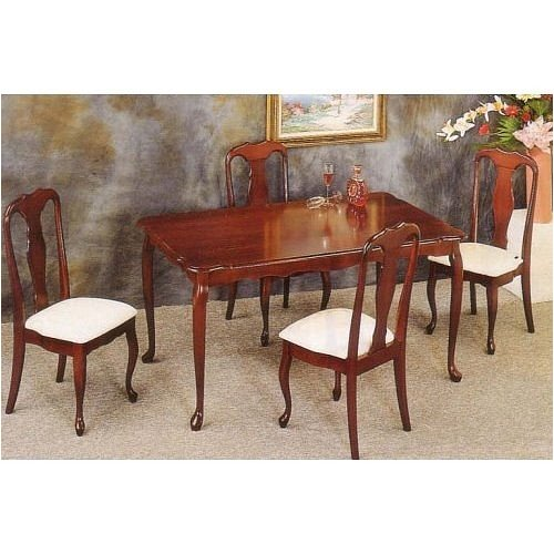 Dining Room Furniture: 5 Piece Cherry Dining Set By Coaster Furniture