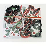 R & M Christmas Holly 7-Piece Color Cookie Cutter Set