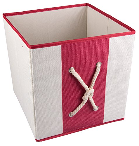 Red and White Collapsible Storage Box and Closet Organizer with Nautical Rope (Nautical Baskets For Storage compare prices)