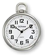 Gotham Men's Silver-Tone Ultra Thin Railroad Open Face Quartz Pocket Watch # GWC15022S