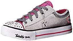 Skechers Kids Twinkle Toes-Charmingly Chic Light-Up Sneaker,Silver/Hot Pink,13 M US Little Kid