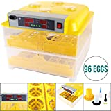 KUPPET Digital Egg Incubator Hatcher Automatic Egg Turning Temperature Control Hatching Machine for Chickens, Ducks, Goose, Turkey etc, W/Two Containers & a Computer-controlled System (96 eggs)