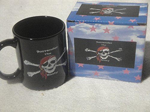 Jolly Roger Pirate Surrender The Booty Ceramic Coffee Mug Cup, 12 Ounce Mug, New