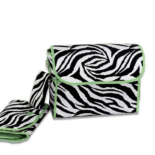 Luggage 5514 Diaper Bag Zebra Green Trim SWT14