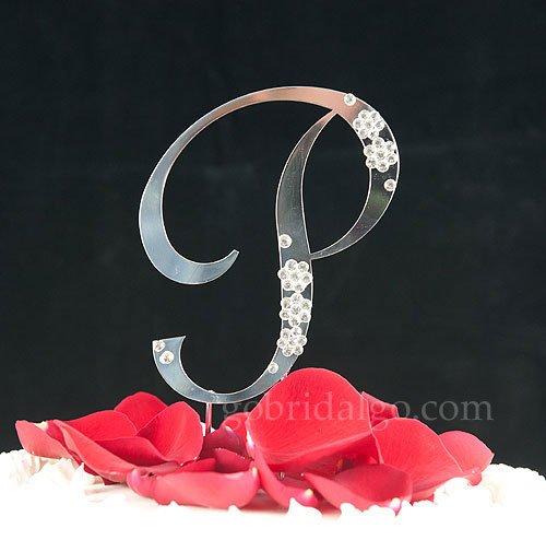 Cake Toppers Letter P : cheaperSwarovski Crystal Flower Monogram Cake Topper ...