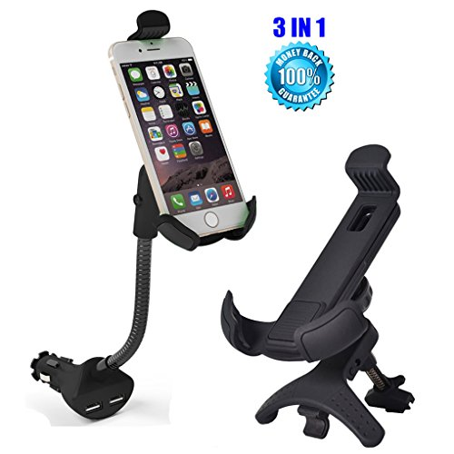 iMustech® 3-in-1 Air Vent Car Mount + Dual USB Car Charger + Cell Phone Holder, Combine with Cigarette Lighter, Fits For iPhone 6/6s/ 6 Plus, Samsung Galaxy S6/S6 Edge/S5 & More (Black)