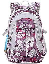 JiaYou Kid Child Girl Flower Printed Waterproof Backpack School Bag(Purple,Small)