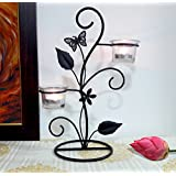 TiedRibbons Gift For Diwali Tealight Candles Holder(White,Glass) With T-lights