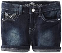 Almost Famous Girls 2-6X Heavy Embroidery Short, Dark Night Wash, 6
