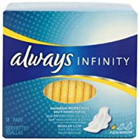 Always Infinity Unscented Pads with Wings, Regular Flow, 18 Count (Pack of 4)