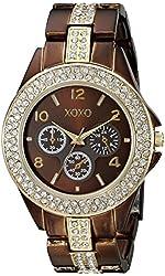 XOXO Women's XO5455 Rhinestone Accent Chocolate Brown Analog Bracelet Watch