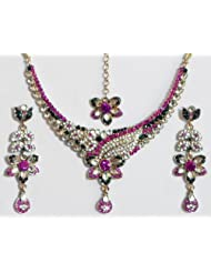 Faux Ruby, Emarald And White Zirconia Studded Kundan Necklace Set With Mang Tika - Stone And Metal