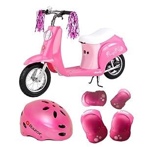 Razor Pocket Mod Miniature Euro Electric Scooter in Sweet Pea + Razor V-17 Youth Helmet (Satin Pink) + Accessory Kit