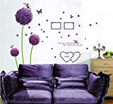 Sangu Love Purple Dandelion Butterfly Removable Mural Wall Stickers Wall Decal for Home Decor