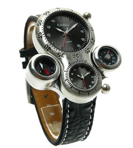 Oulm Two Time Zone Display With Thermometer And Compass For Decoration Purpose Only Wrist Watch (Black)