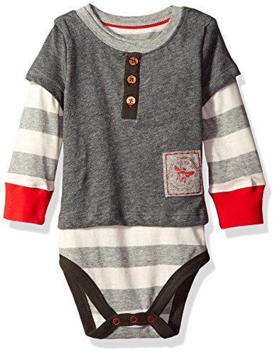 Burt's Bees Baby Boys' Organic Henley 2-Fer Bodysuit, Charcoal Heather, 18 Months