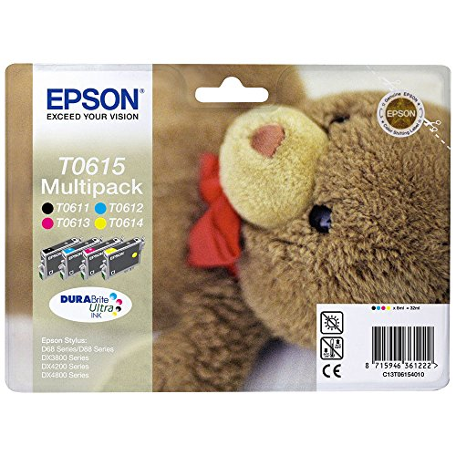 Epson Original T0615 Black and Colour Multipack Ink Cartridges (4 DuraBrite Ultra Inks - T0611 Black, T0612 Cyan, T0613 Magenta, T0614 Yellow)