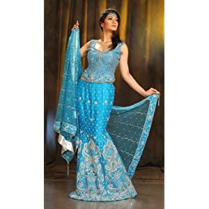 Blue Fish Clothing on Blue Silk Lehnga Choli With Embroidered Net Dupatta   Fabric   Row