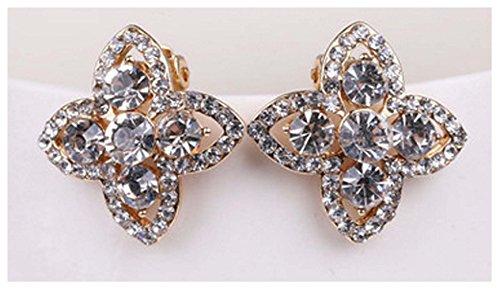 [Mr Ribbt New Fashion Cusp Clover Diamond Earrings Full Of Diamond Ear Clip Earrings Upscale] (Costume Rental Austin)