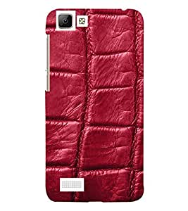 wine coloured leather pattern 3D Hard Polycarbonate Designer Back Case Cover for vivo V1