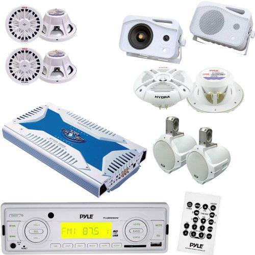 Pyle Marine Stereo, Radio Receiver, Speaker, Subwoofer and Amplifier Package - PLMR89WW AM/FM-MPX IN-Dash Marine MP3 Player/Weatherband/USB & SD Card Function - PLMRA620 6 Channel 2000 Watt Waterproof Marine Bridgeable Mosfet Amplifier - 2x PLMRW10 2 Pair