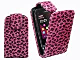 PiNK BLACK PiNK FURRY FLiP CASE LEOPARD SKiN TEXTURED COVER FOR NOKiA C2-02