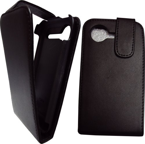 Premium Quality Black Flip Leather Case Cover Pouch & LCD Screen Protector / Guard for HTC Incredible S