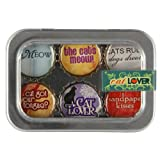 Cat Lover Bottle Cap 6 pc Magnet Set w/ Case