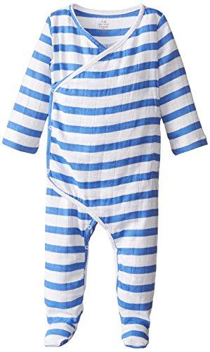 aden + anais Baby-Boys Newborn Muslin Long-Sleeve Kimono One Piece, Ultramarine Blazer Stripe, 6-9 Months