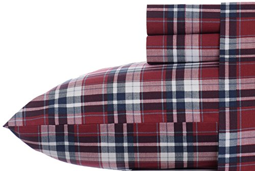 Nautica Groveland Cotton Blend Wrinkle Resistant Sheet Set, Twin, Red front-676911